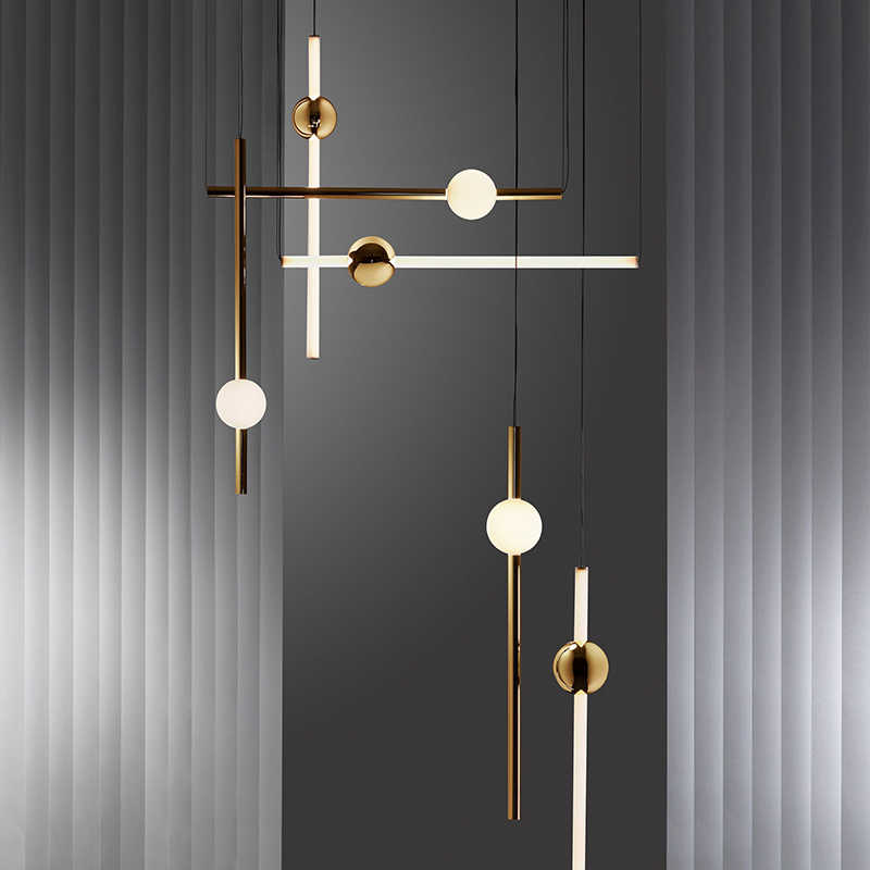 Minimalist Gorizontal Version Vertical LED Chandelier Lights Metal Glass Tube For Dinning room Bar Cafe Tea Shop