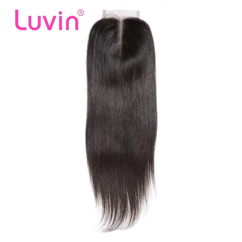 Luvin ペルーレース閉鎖ストレート漂白ノット 4x4 体毛ナチュラルカラー 100% 人間の Remy 毛中間無料一部  グループ上の ヘアエクステンション & ウィッグ からの クロージャー の中 1