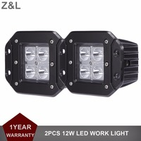 12W Flush Mount LED Work Light Bar Spot Flood Bumper Driving Fog Lamp For Jeep Ford