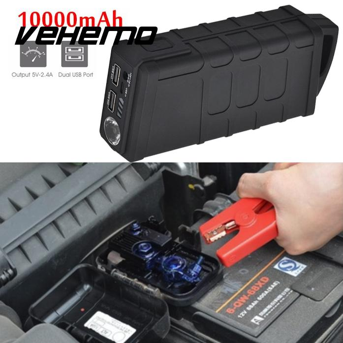 Vehemo Jump Starter Battery Jump Starter US/EU/UK/AU Plug Dual USB 10000mAh Portable Emergency Battery Charger Car autoeye cctv camera power adapter dc12v 1a 2a 3a 5a ahd camera power supply eu us uk au plug