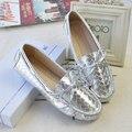 US5-9 Nova Verão de Prata de Ouro de Couro REAL Lace Up Tecido Bowtie Mulher Driving Mocassim Loafer Sapatos de Ballet Plana