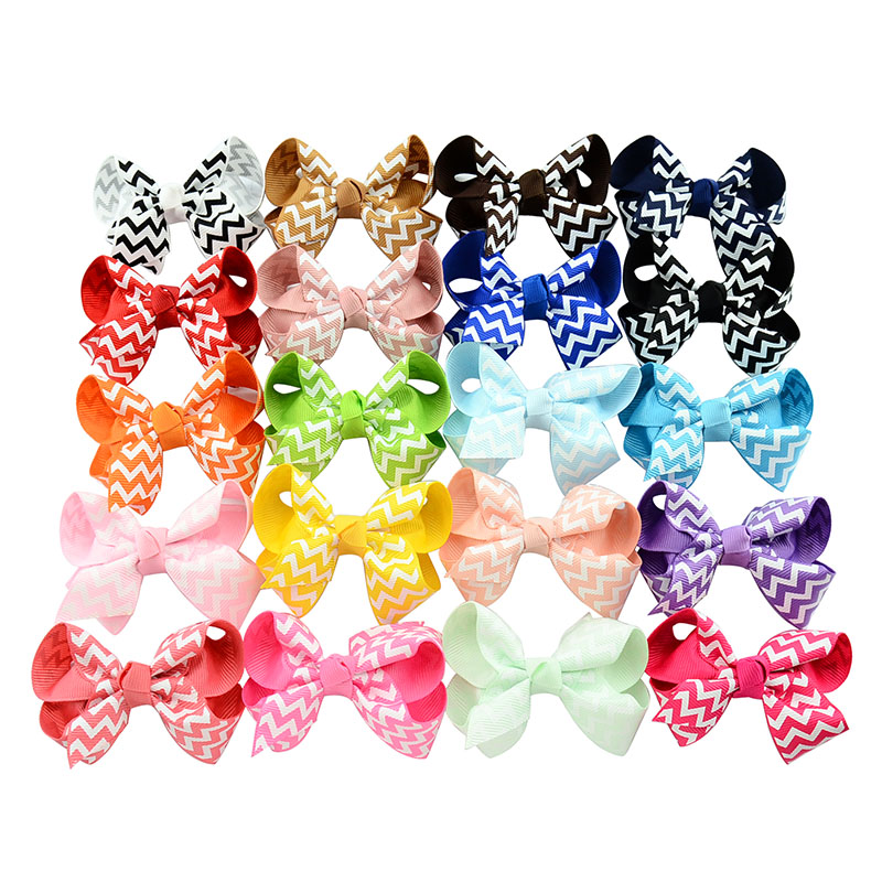New Born Children's Wave Stripe Grosgrain Ribbon Bow Hairpin Baby Clip DIY Bowknots Hairclips For Kids Girls Hair Accessories