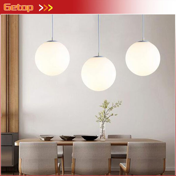 Modern Simple Single Head White Round Glass Pendant Light Restaurant Staircase Clothing Boutiques Bar LED Lighting Decoration