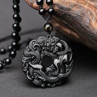Natural Black Obsidian Safety Pendant Buckle Needlework A gate Basis The Life Of Buddha Necklace Black Obsidian Pendant Man