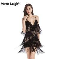 Viven Leigh Woman Vestido De Festa Flapper Fringe 1920s Gold Vintage Great Gatsby Sequin Tassel Party