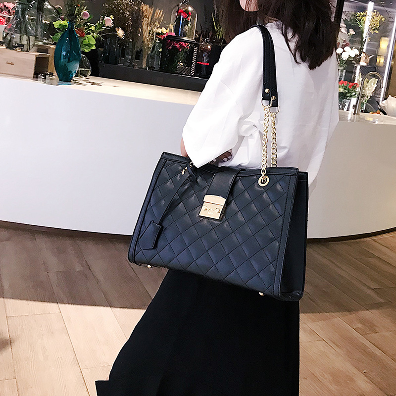 Lattice Shoulder Bag For Women Chin Fashion Pu Leather Bag 2019 New Style Large Capacity Tote Women Handbag