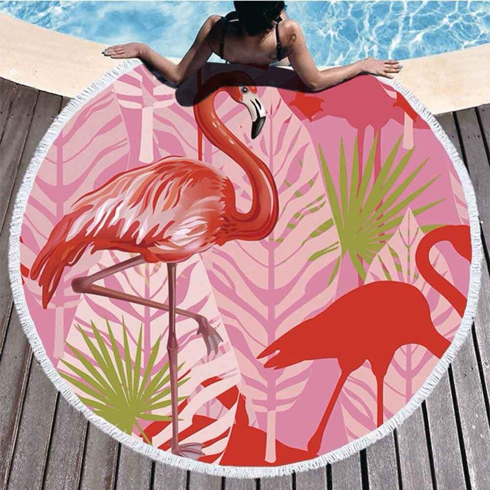 Flamingo Pattern Microfiber Round Beach Towel Tippet With Tassel Bohemian Tapestry Large Beach Towels Blanket Picnic Yoga Mat