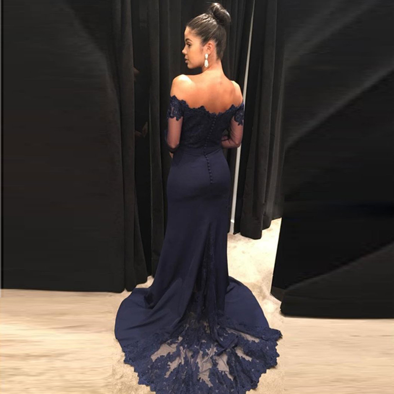 c32aba44259 Navy Blue Mermaid Prom Gowns Off The Shoulder Long Sleeves Appliques Satin  Custom Made Formal Women Dresses -in Dresses from Women s Clothing on ...