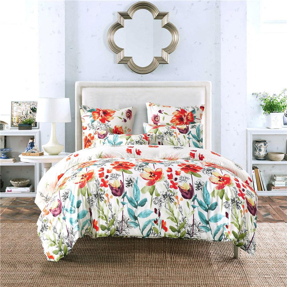 Floral Quilt Cover With Pillow Cover Flowers Bedding Set For Women Bedroom Decor