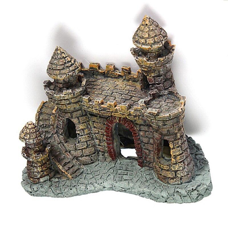 Aquarium Ornament Antique Castle Tower Fish Tank Landscape Resin Decoration