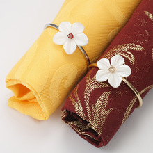 6PCS exquisite flower inlaid zircon napkin ring circle Hotel tableware jewelry