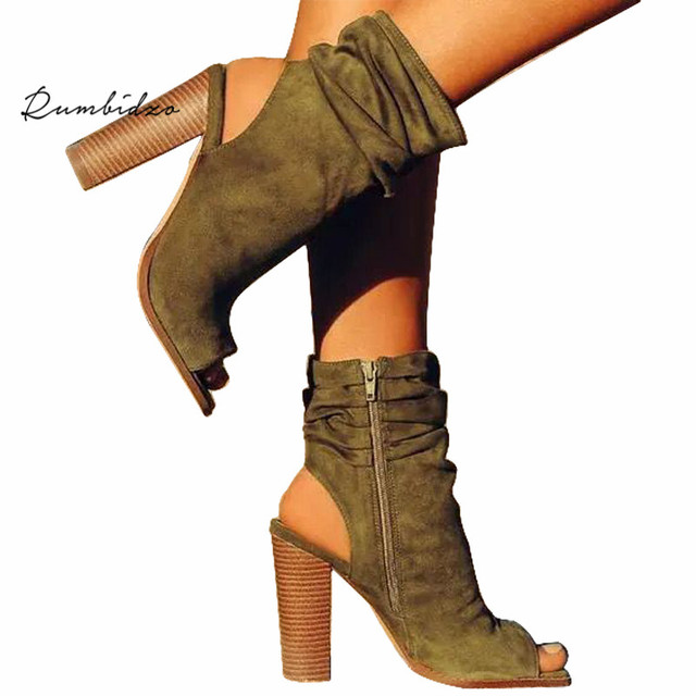 Rumbidzo Peep Toe Winter Boots Women s Chunky Heels Ankle Boots Green Brown  Wrinkle Socks Bootie Zipper Slingback Shoes a8ce7549c979