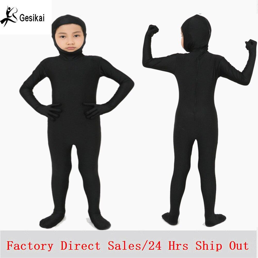 Kids Open Face Zentai Bodysuit Spande Lycra Zentai Dancewear Back Zipper Kids Fitness Suit Halloween Costumes