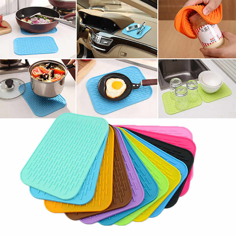 New Practical Silicone Holder Mat Kitchen Heat Non-slip Resistant Trivet Pot Tray Straightener Kitchen Tools Hot Sell