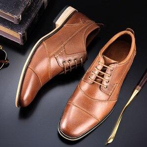 Image 4 - Brand Men Shoes Top Quality Oxfords British Style Men Genuine Leather Dress Shoes Business Formal Shoes Men Flats Plus Size 50
