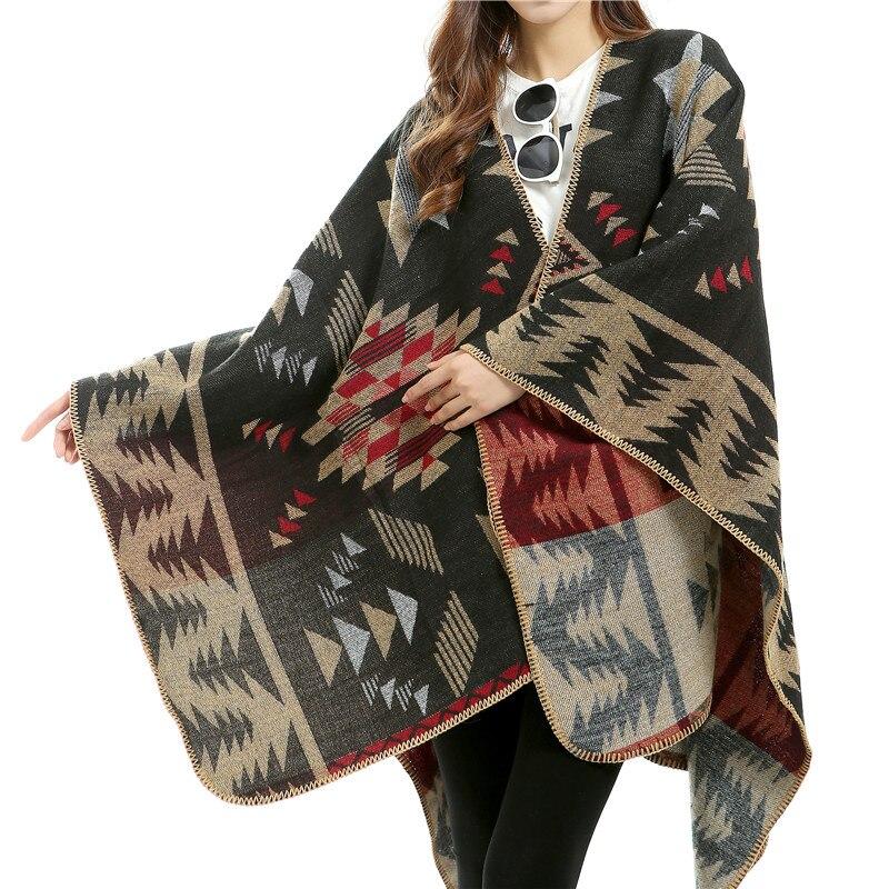 Для женщин зимний шарф пашмины подражали кашемир пончо утолщаются Накидки плед Шарфы для женщин длинные Для женщин Шарфы для женщин Модный ...