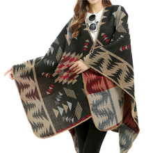 Women Winter Pashmina Scarf Imitated Cashmere Ponchos Thicken Capes Plaid Scarves Long  Scarfs Fashionable Shawl