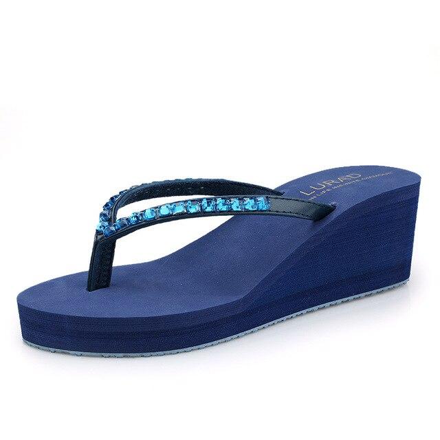 ee3683d465fef LURAD high-heeled crystal Flip Flops summer women s heavy-bottomed wedges  non-slip beach trifle sandals size 35~39