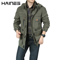 HAINES Spring Summer Bomber Jacket Casual Military Jackets Men Detachable Hooded Windproof Tactical Jacket jaqueta masculina