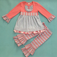 Latest Style Valentine's Day Kids Girls Boutique Pink Cotton Clothing Set With Polk dot  Baby Remake Ruffle Outfits V027