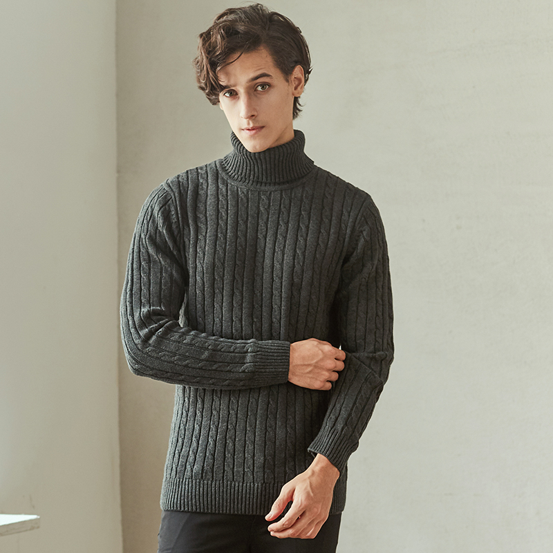 New Stylish Autumn Winter Sweater Men Turtleneck Solid Color Casual Coarse Wool Sweater Men's Slim Fit Male Knitted Pullovers 32