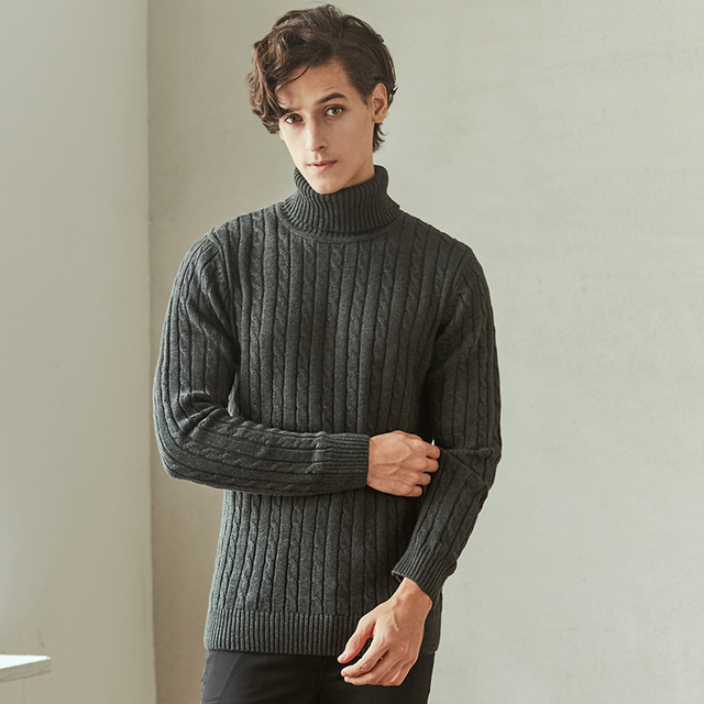 9d27fb14794 New Stylish Autumn Winter Sweater Men Turtleneck Solid Color Casual Coarse Wool  Sweater Men s Slim Fit Male Knitted Pullovers 32