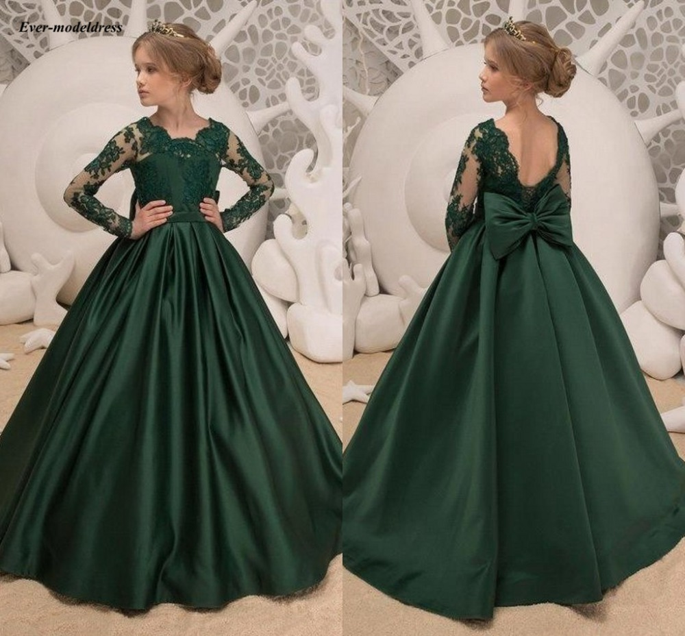 2019 Dark Green   Flower     Girl     Dresses   For Wedding Long Sleeves Appliques Open Back Long   Girls   Pageant Party Gowns Cheap Customized