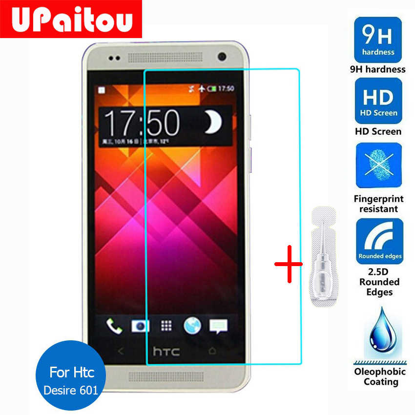 UPaitou Screen Protector For Htc Desire 601 Tempered Glass Safety Protective Film on Zara D601 6160 D6160 Cdma Dual Sim Lte