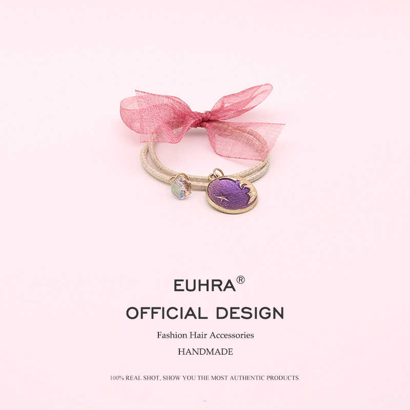 EUHRA 4 Colors Elastic Hair Bands Candy Color Ribbon Bowknot Hair Ropes For Women Girls Hair Band Kid Hair Accessories Scrunchie