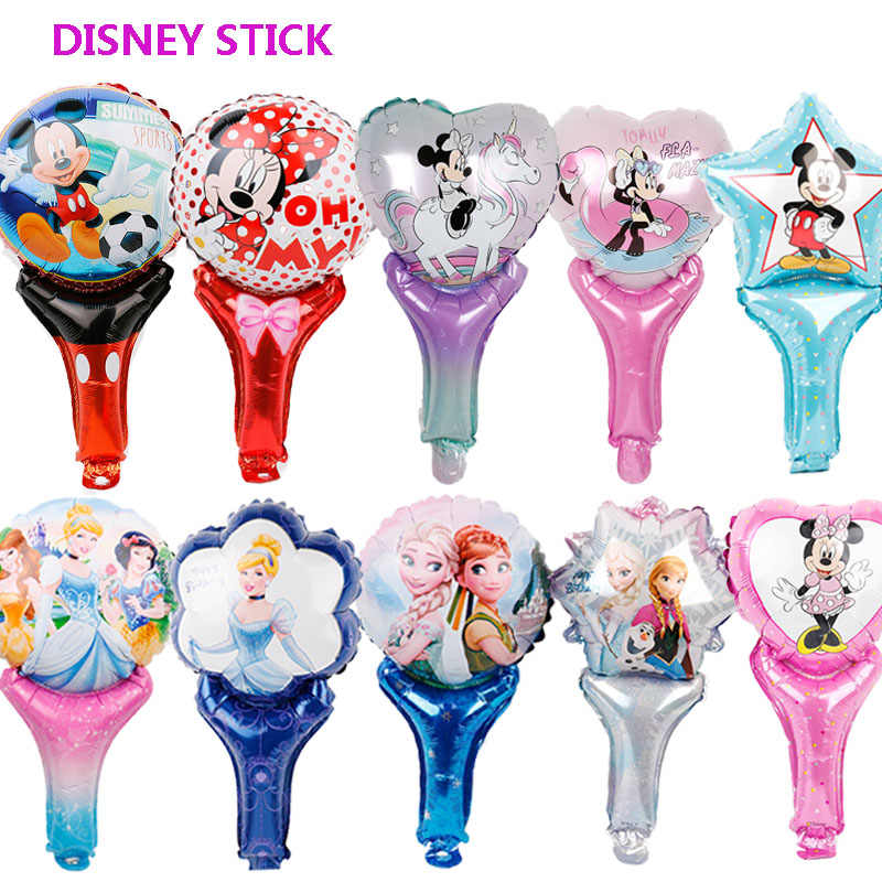 1pc mickey mouse birthday party decorations foil balloons disney hand stick toys baby shower boy girl Princess minnie Air Baloes