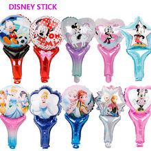1pc mickey mouse birthday party decorations foil balloons disney hand stick toys baby shower boy girl Princess minnie Air Baloes(China)