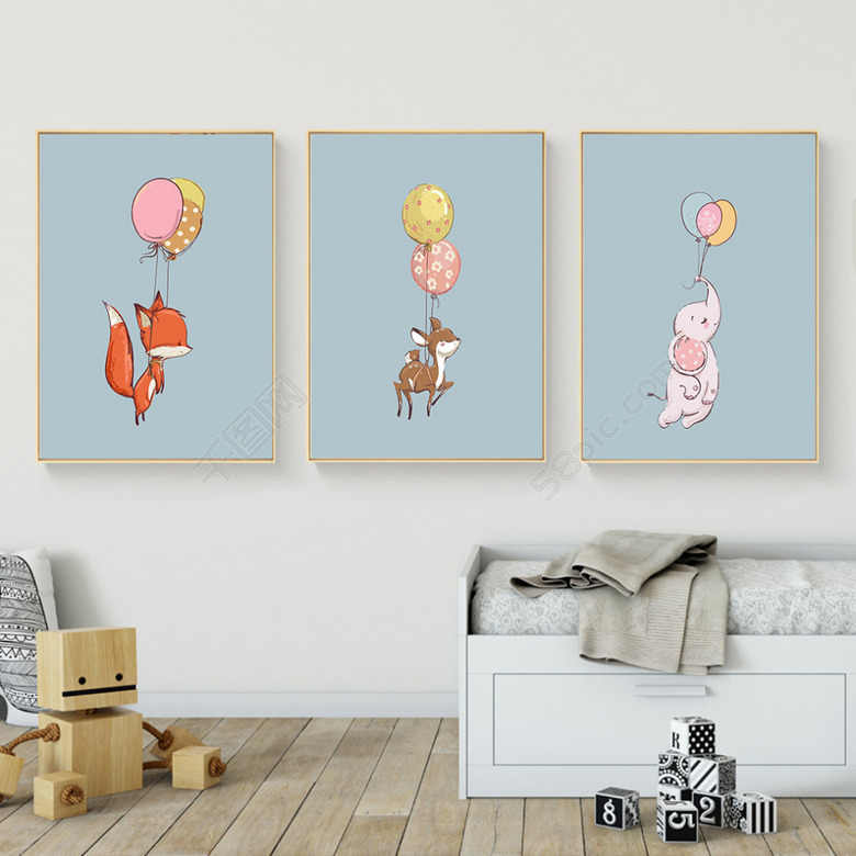 Woodland Animal Deer fox on ballon Wall Art Canvas Nordic Posters Nursery Prints for Baby Room Painting Picture Kids Bedroom