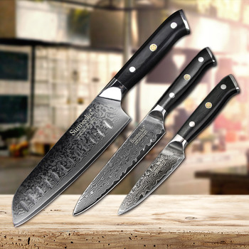 SUNNECKO 3PCS Kitchen Knife Set Japanese Damascus VG10 Steel Sharp Utility Santoku Paring Kinfe Cooking Tools G10 Handle
