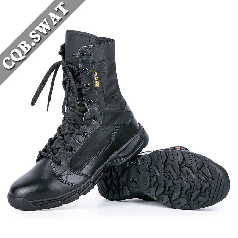 71e89274a83 CQB.SWAT Military Breathable Light Weight Mens Tactical Boots Army Combat  Black Lace-up Canvans Boot Electric System shoes men