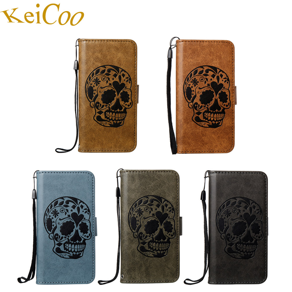 Skull Pattern Phone Fundas Cases For Apple iPhone 7 Plus iPhone7Plus Wallet Covers TPU Cool Capas For iPhone 7Plus Full Housing