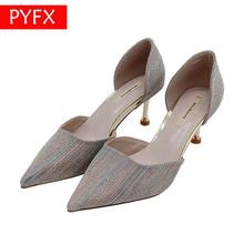 Girls French high-grade denim 2019 summer and autumn silver  shallow Women's mouth stiletto shoes ladies heels Wedding shoe autumn and winter shoes stiletto heels wedding shoe shallow mouth single piece high heeled shoes big size 32 to 47