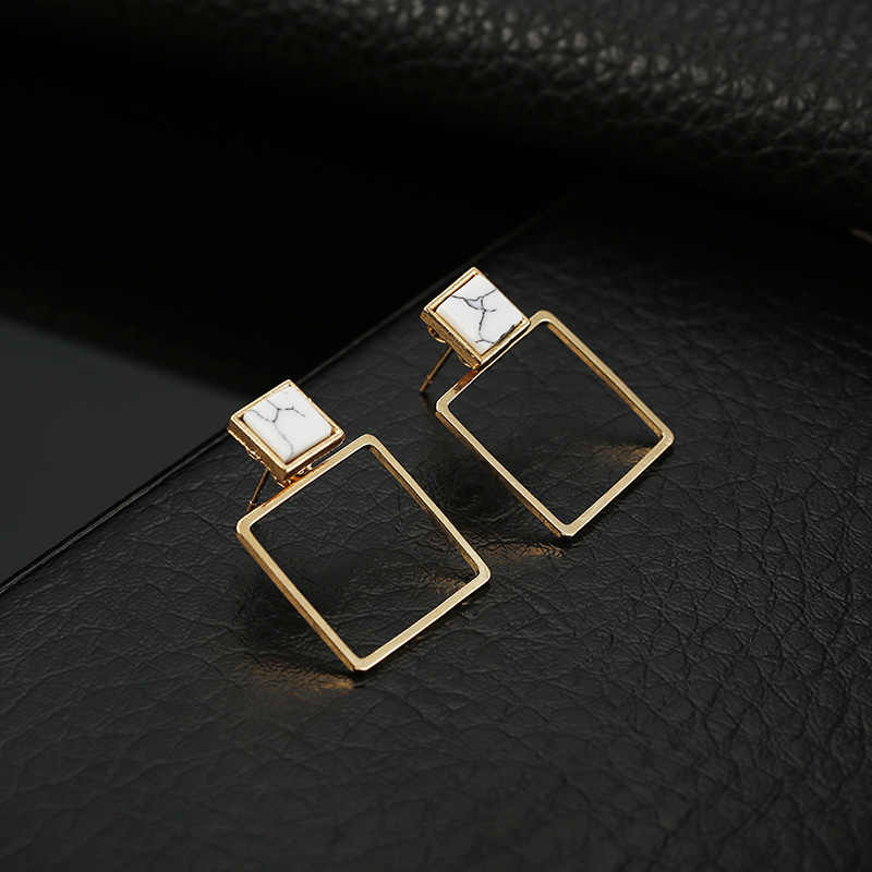 2019 Fashion New Design Square Stud Earrings for Women Stone Copper Earrings for Wedding Party Jewelry Wholesale