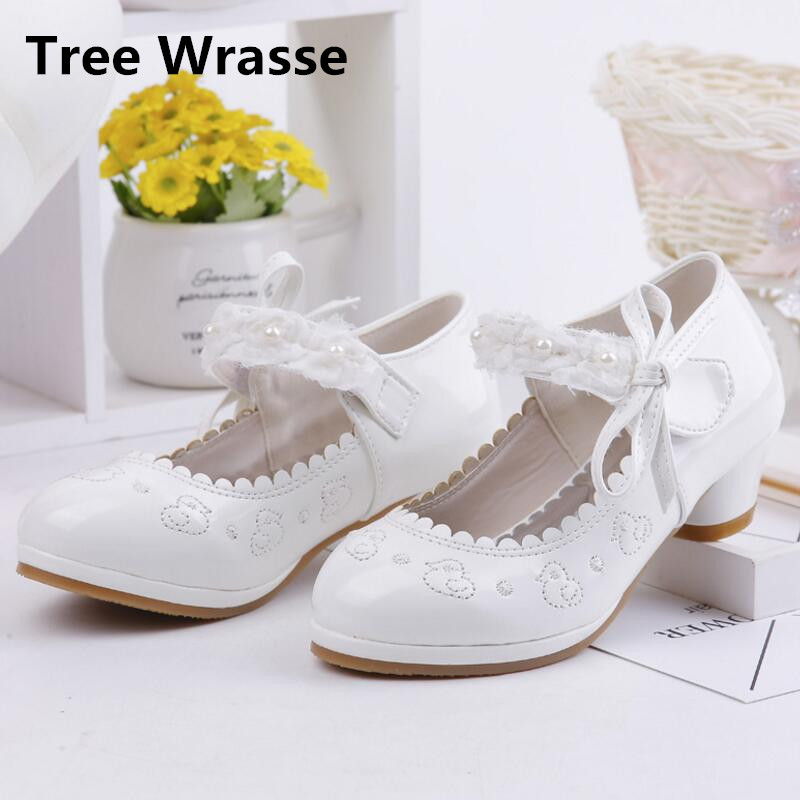 Children High Heel Leather Shoes Girls Butterfly Princess Sandals Baby Girl Kids Embroidery Party Dance Shoes For Pink White цена 2017