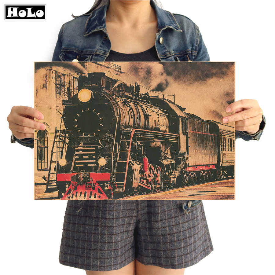 Old steam train industrial age Retro vintage krafts paper poster home decor retro wall sticker painting 42x30cm