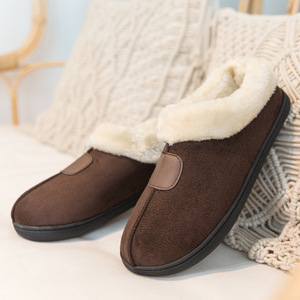 Image 1 - Winter Womens Slippers Big Size 35 50 Lovers Fur Slides Plush Flat Shoes Female Soft Home Keep Warm Cotton Shoes Casual Unisex