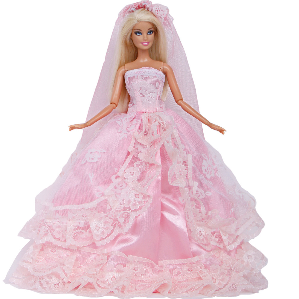 Barbie Pink Wedding Dresses: Handmade Wedding Dress Evening Party Pink Lace Long Gown