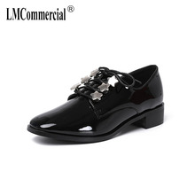 New spring loafers ladies British style front lace-up brogues with solid patent leather shoes casual shoes women spring autumn