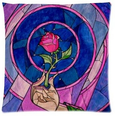 Fairy Tale Magic World Beauty and the Beast Stained Glass Rose Love Custom Made Pillowcase Best Dream Gift for Children Bedding