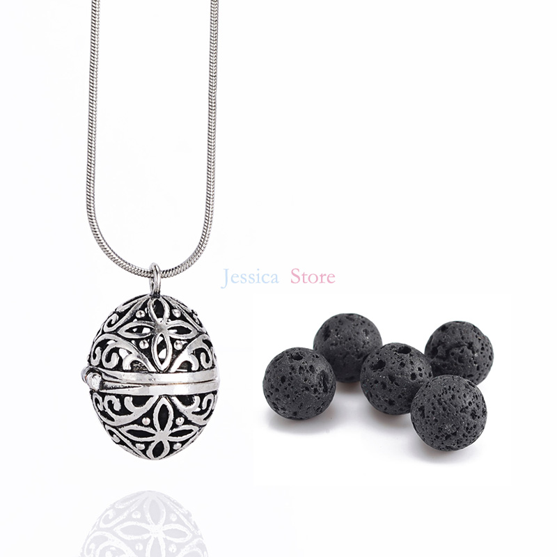 1Pc 8mm Lava Stone Diffuser Hollow Locket Halsband Armband Bangles - Märkessmycken - Foto 5