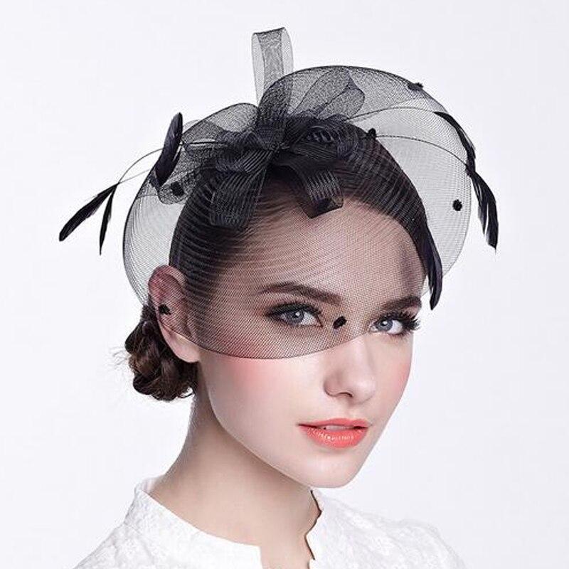 189d5f79e95 FS Black Hair Fascinators For Weddings Women Feather Mesh Gauze Bridal  Headdress Hair Bands Retro Tea Party Hats Accessories