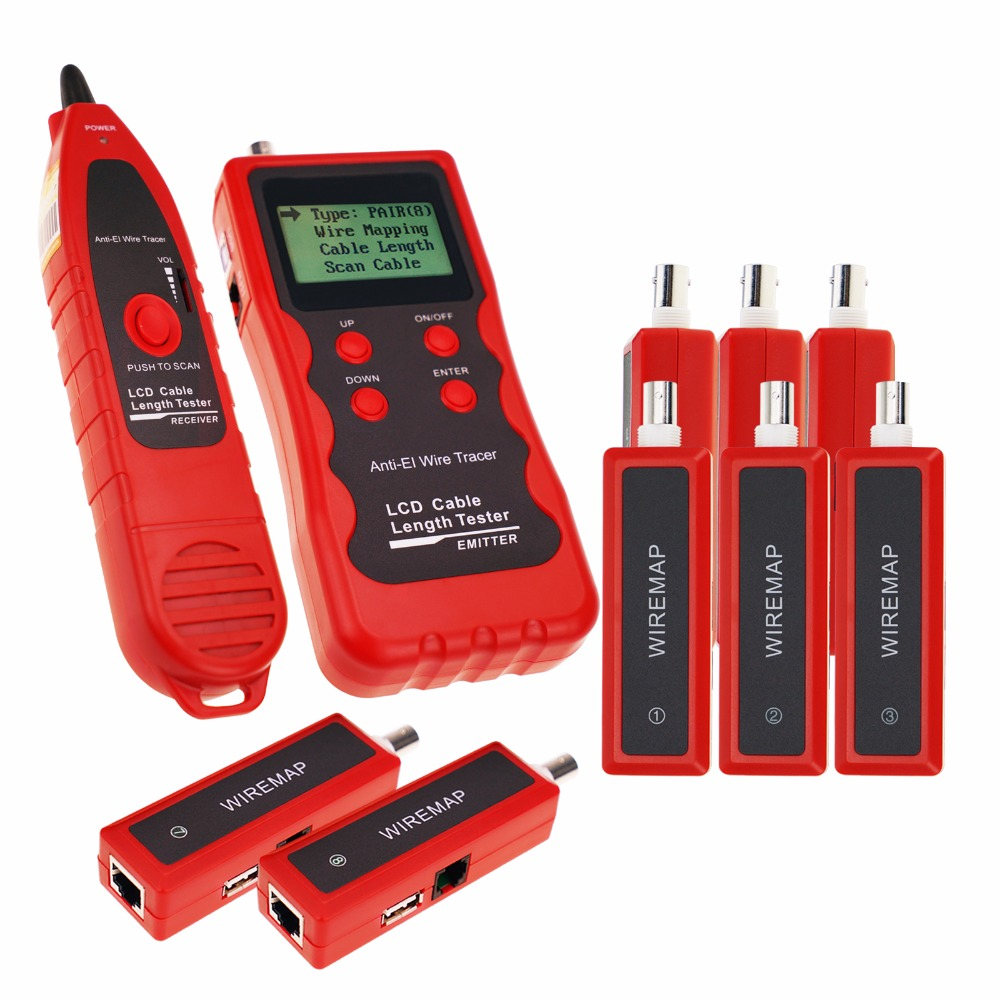Multifunction Network Ethernet LAN Telephone Wire Cable Length Tester w/ 8 Remote Adaptor Wiremap RJ45 RJ11 BNC USB Cable Tester