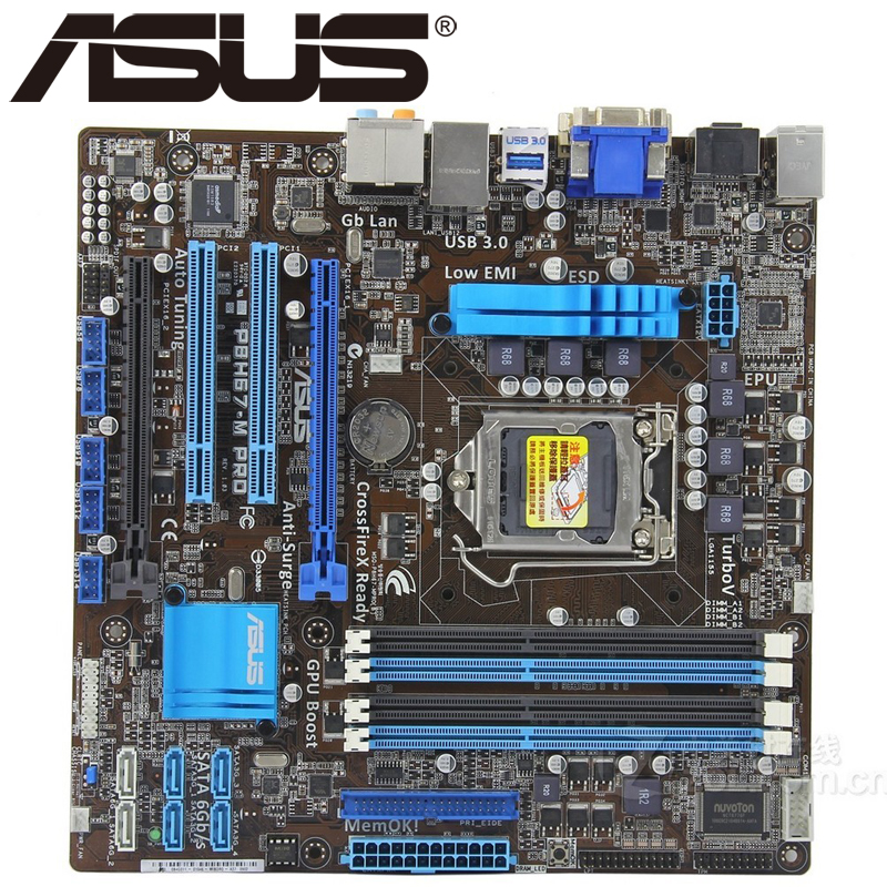 Asus P8H67-M Pro Desktop Motherboard H67 Socket LGA 1155 i3 i5 i7 DDR3 32G u ATX UEFI BIOS Original Used Mainboard On Sale asus p5ql cm desktop motherboard g43 socket lga 775 q8200 q8300 ddr2 8g u atx uefi bios original used mainboard on sale