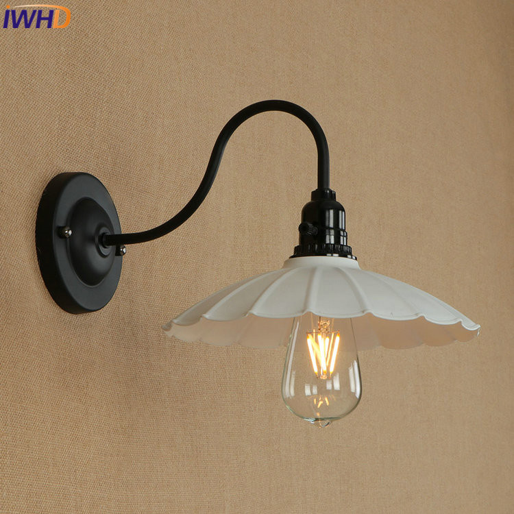 цена на IWHD Iron Vintage Industrial LED Wall Lamp Retro Loft Wall Lights Simple RH Bedside Light Fixtures For Home Lighting Luminaire