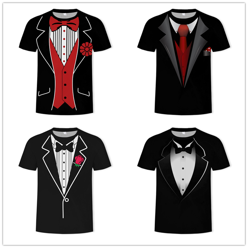 2019 New Fake Two Suit 3D Printed Men Tops Tees Summer Men's Short-sleeve Round Neck T-shirt Casual Large Size Loose Tee Shirt