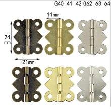 10 шт., 90/180 градусов, 24*21 мм, бабочка, маленькая петля, фурнитура для шкафа, аксессуары, кружевная петля, шарнир, деревянная коробка